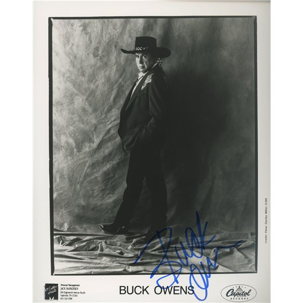 Buck Owens signed Capitol Records promo photo