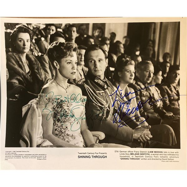 Shining Through Melanie Griffith and Liam Neeson signed movie photo