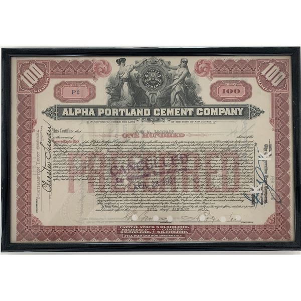 Alpha Portland Cement Company 1910 stock certificate