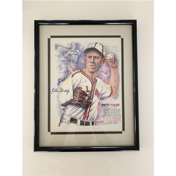St. Louis Browns Pete Gray signed original artwork