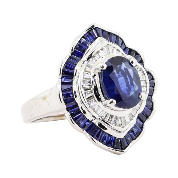 3.20 ctw Sapphire and Diamond Ring - 14KT White Gold
