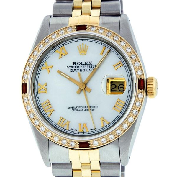 Rolex Mens 2 Tone Mother Of Pearl Diamond & Ruby 36MM Oyster Perpetual Datejust