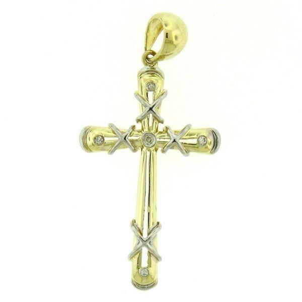 14k Solid Two Tone Gold 0.07 ctw Round Brilliant Bezel Set Diamond Cross Pendant