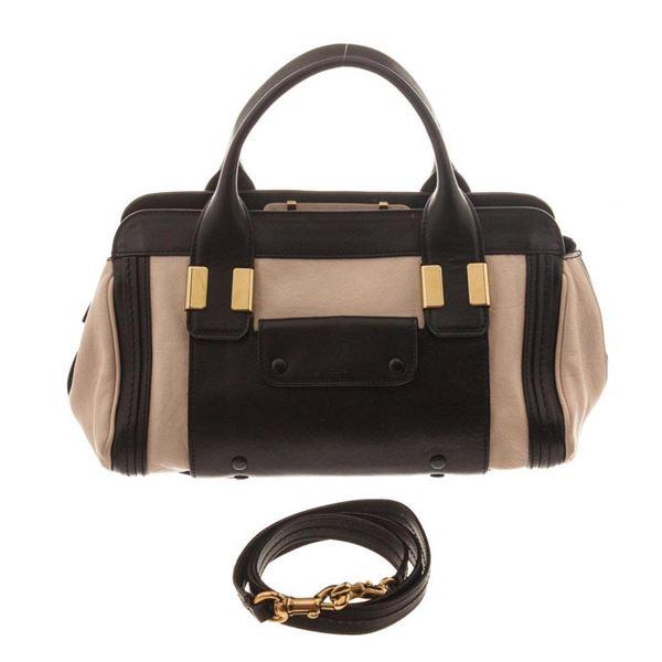 Chole Brown Black Mini Leather Alice Shoulder Bag