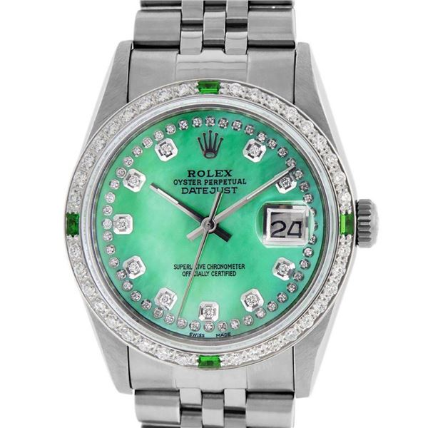 Rolex Mens Stainless Steel Green Mother Of Pearl Diamond Oyster Perpetual Dateju
