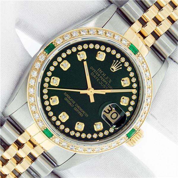 Rolex Mens 2 Tone Green String Diamond & Emerald Datejust Wristwatch Serviced Po