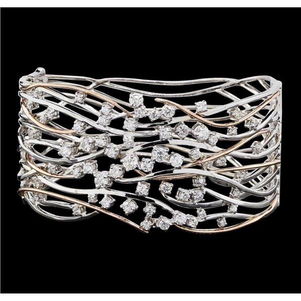 1.45 ctw Diamond Bangle Bracelet - 14KT Rose and White Gold