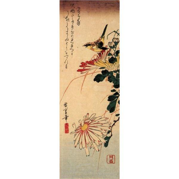 Hiroshige Small Bird with Chrysanthemum