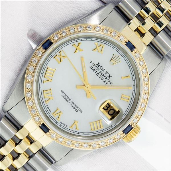 Rolex Mens 2 Tone Mother Of Pearl Diamond & Sapphire 36MM Datejust Wristwatch