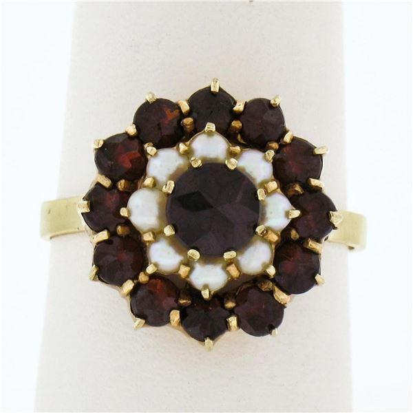 Vintage 8k Yellow Gold 1.56 ctw Garnet & Pearl Petite Dual Halo Cluster Ring