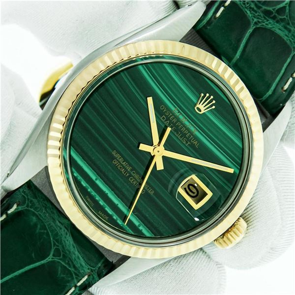 Rolex Datejust Mens 36 Green Malachite 18K/SS Oyster Perpetual Serviced Polished