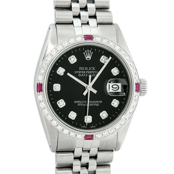 Rolex Mens Stainless Steel Black Diamond & Ruby 36MM Datejust Wristwatch Oyster