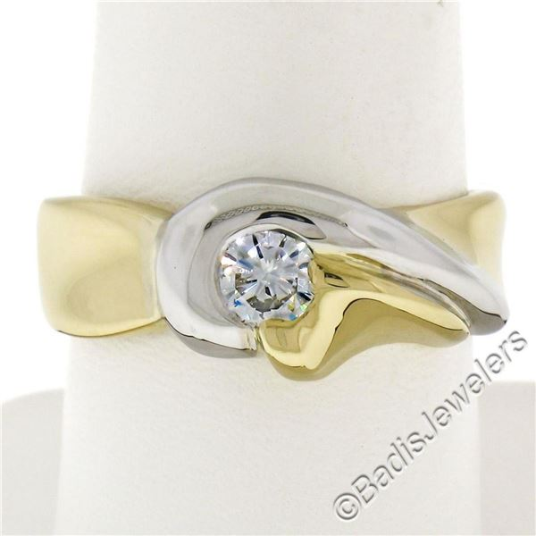Italian 18kt Yellow and White 0.36 ctw Round Diamond Solitaire Wide Band Ring