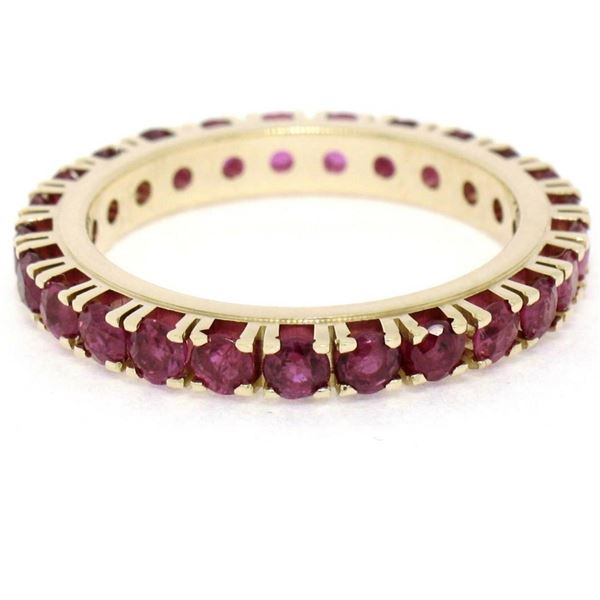 14K Yellow Gold 2.75 ctw 25 Prong Set Blood Red Ruby Eternity Band Ring