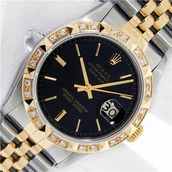Rolex Mens 2 Tone Black Index Pyramid Diamond Bezel Datejust Wristwatch With Rol