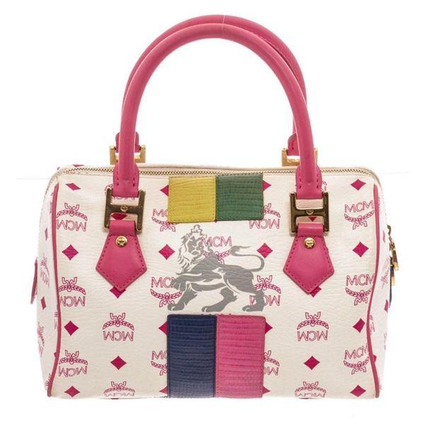 MCM Pink White Lion Boston Bag