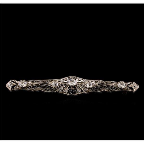 Platinum 1.70 ctw Diamond Brooch