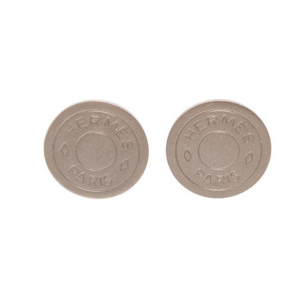 Hermes Silver Clou De Selle Clip-On Earrings