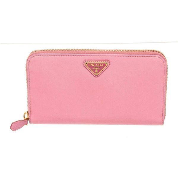 Prada Pink Leather Compact Zippy Wallet