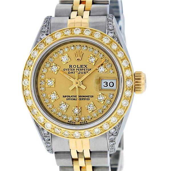 Rolex Ladies 2 Tone 18K Champagne String Diamond Lugs Datejust Wristwatch