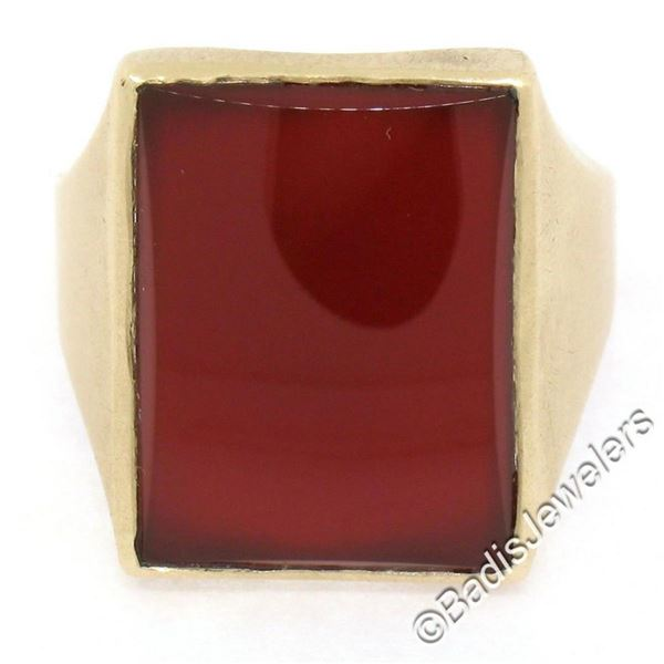 Vintage Men's Brushed 10k Yellow Gold Rectangular Carnelian Solitaire Ring