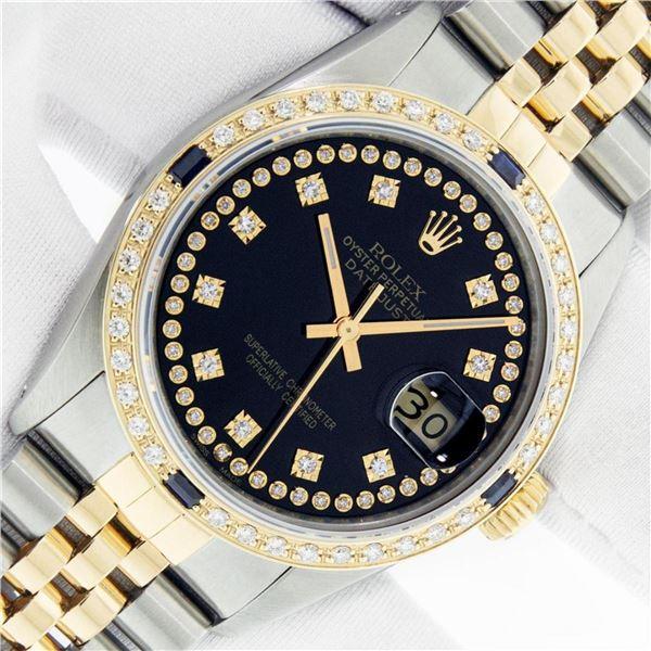 Rolex Mens 2 Tone Black String Diamond & Sapphire 36MM Datejust Wristwatch