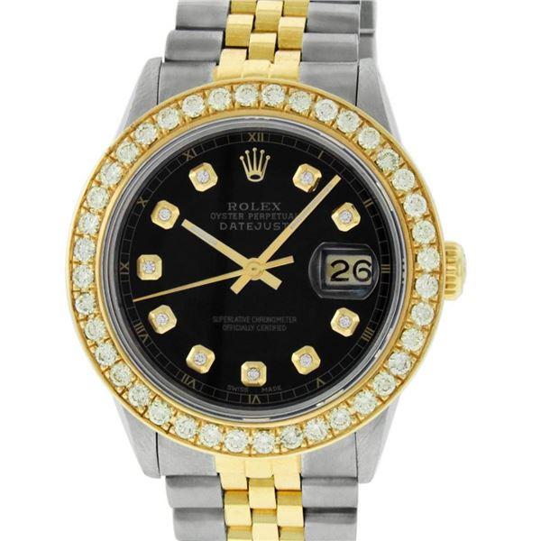 Rolex Mens 2 Tone 18K Black 1.9 ctw Diamond Datejust Wristwatch 36MM