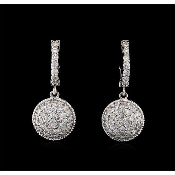 1.30 ctw Diamond Dangle Earrings - 14KT White Gold