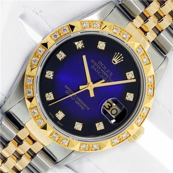 Rolex Mens 2 Tone Blue Vignette Diamond Datejust Oyster Perpetual Datejust With
