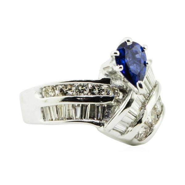 1.96 ctw Pear Brilliant Blue Sapphire And Diamond Ring - 14KT White Gold