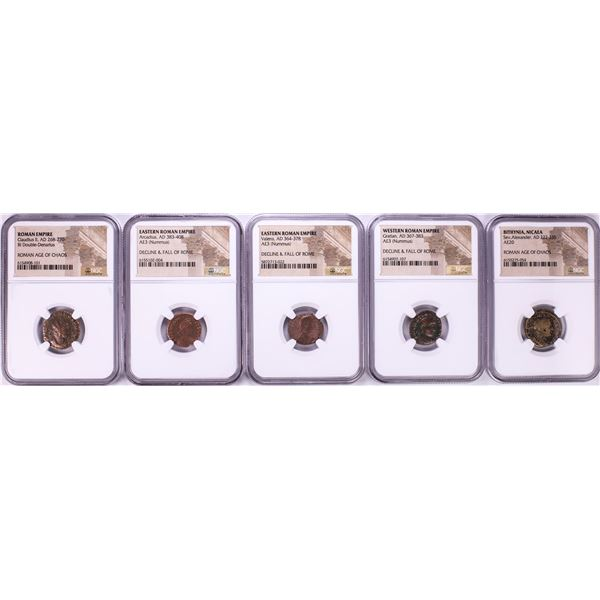 Lot of (5) Ancient Roman Empire Coins NGC Certified