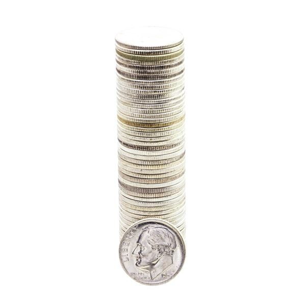 Roll of (50) Brilliant Uncirculated 1964 Roosevelt Dimes