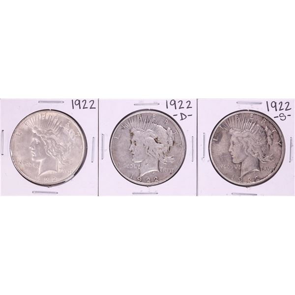 Lot of 1922-P/D/S $1 Peace Silver Dollar Coins