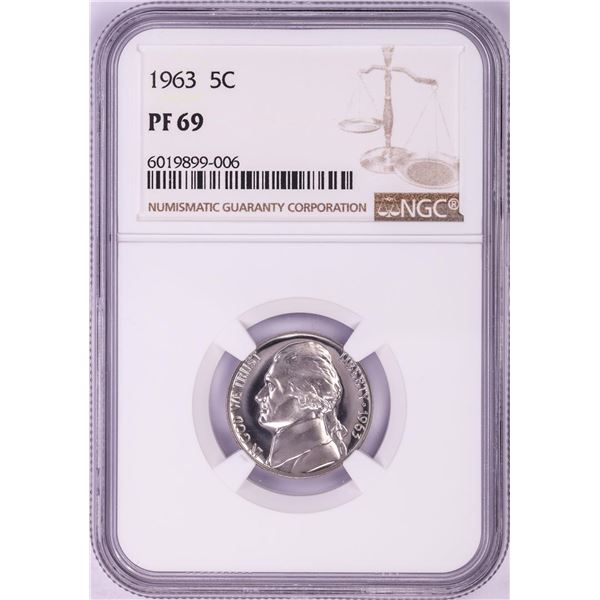 1963 Proof Jefferson Nickel Coin NGC PF69