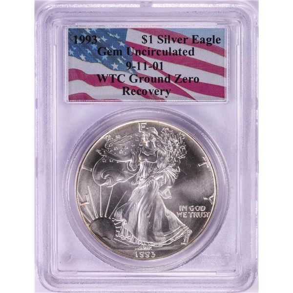 WTC Ground Zero 1993 $1 American Silver Eagle Coin PCGS Gem Uncirculated