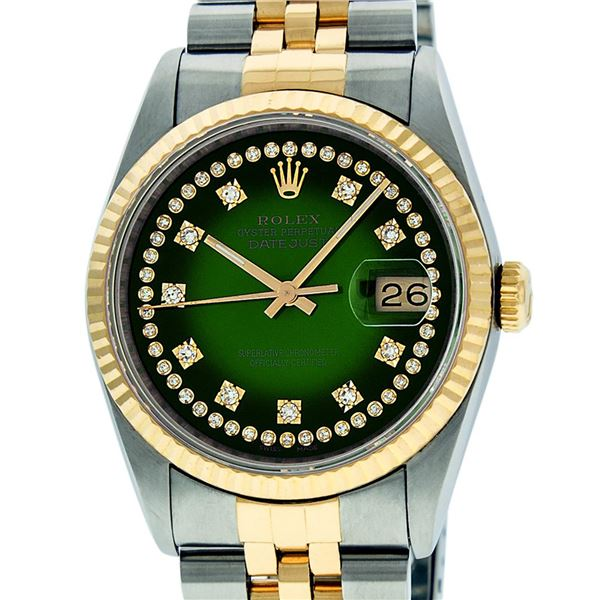 Rolex Mens Two Tone Green Vignette VS Diamond Datejust Oyster Perpetual Wristwatch