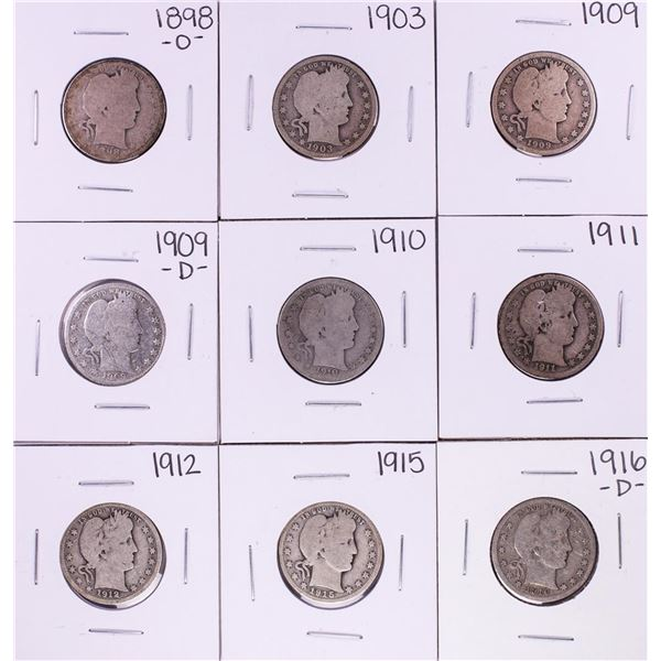 Lot of (9) Miscellaneous Date Barber Quarter Coins