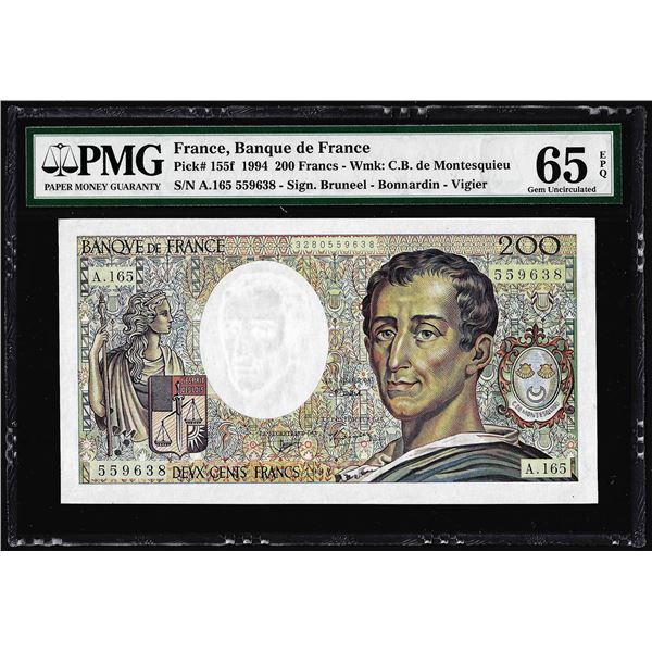 1994 France Banque de France 200 Francs Note Pick# 155f PMG Gem Uncirculated 65EPQ