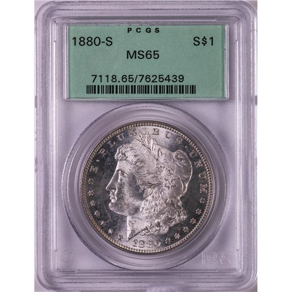 1880-S $1 Morgan Silver Dollar Coin PCGS MS65 Old Green Holder