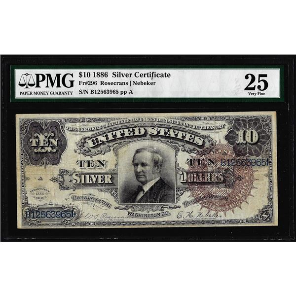 1886 $10 Tombstone Silver Certificate Note Fr.296 PMG Very Fine 25