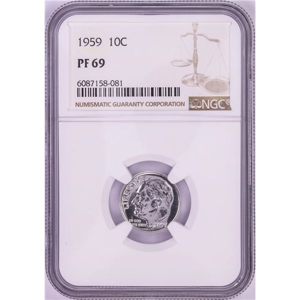 1959 Proof Roosevelt Dime Coin NGC PF69
