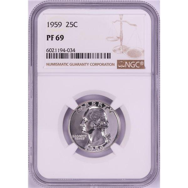1959 Proof Washington Quarter Coin NGC PF69