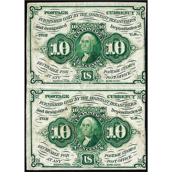Uncut Pair of July 17, 1862 First Issue Ten Cents Fractional Currency Notes
