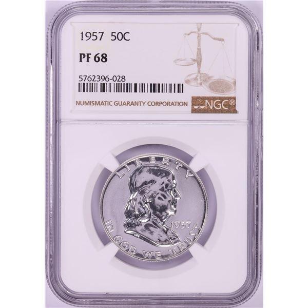 1957 Proof Franklin Half Dollar Coin NGC PF68