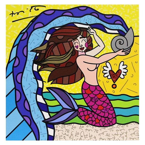 """Romero Britto """"Aquarius White"""" Limited Edition Giclee on Canvas"""