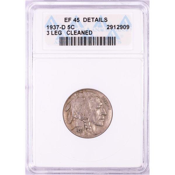 1937-D 3 Legs Buffalo Nickel Coin ANACS EF45 Details