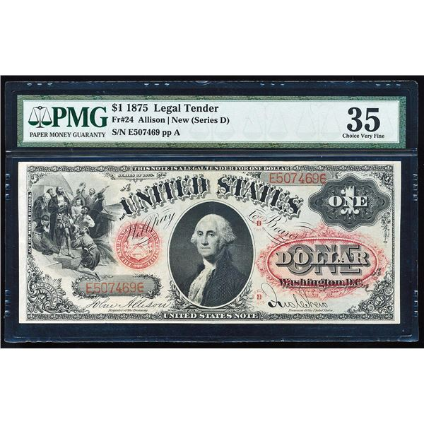 1875 $1 Legal Tender Note Fr.24 PMG Choice Very Fine 35