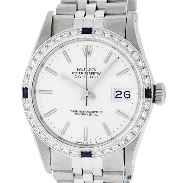 Rolex Men's Stainless Steel Silver Index Diamond & Sapphire Datejust Wristwatch