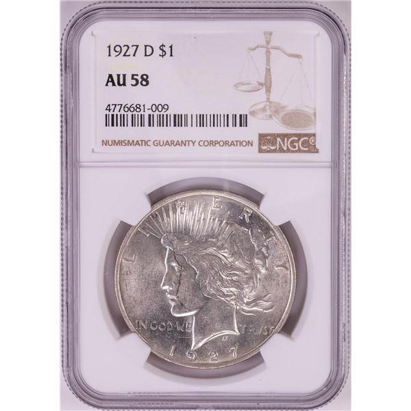 1927-D $1 Peace Silver Dollar Coin NGC AU58