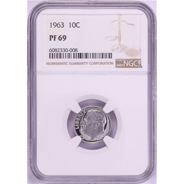 1963 Proof Roosevelt Dime Coin NGC PF69